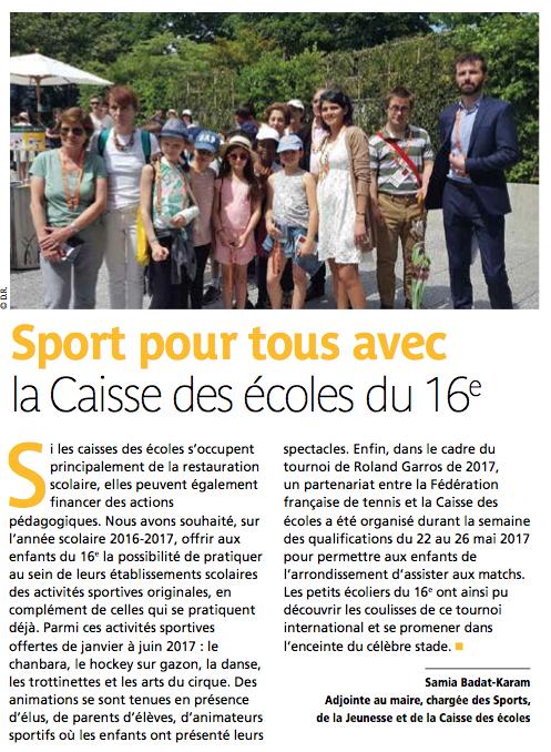 Le numéro d'octobre du magazine «16 Le journal de votre Arrondissement» consacre un article à la Caisse des Écoles du 16ème