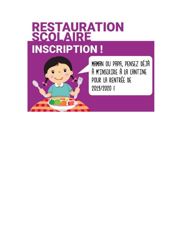 PENSER A INSCRIRE VOTRE ENFANT A LA RESTAURATION SCOLAIRE AVANT LE 15 SEPTEMBRE